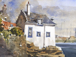 Watercolor landscape painting by Iain Stewart