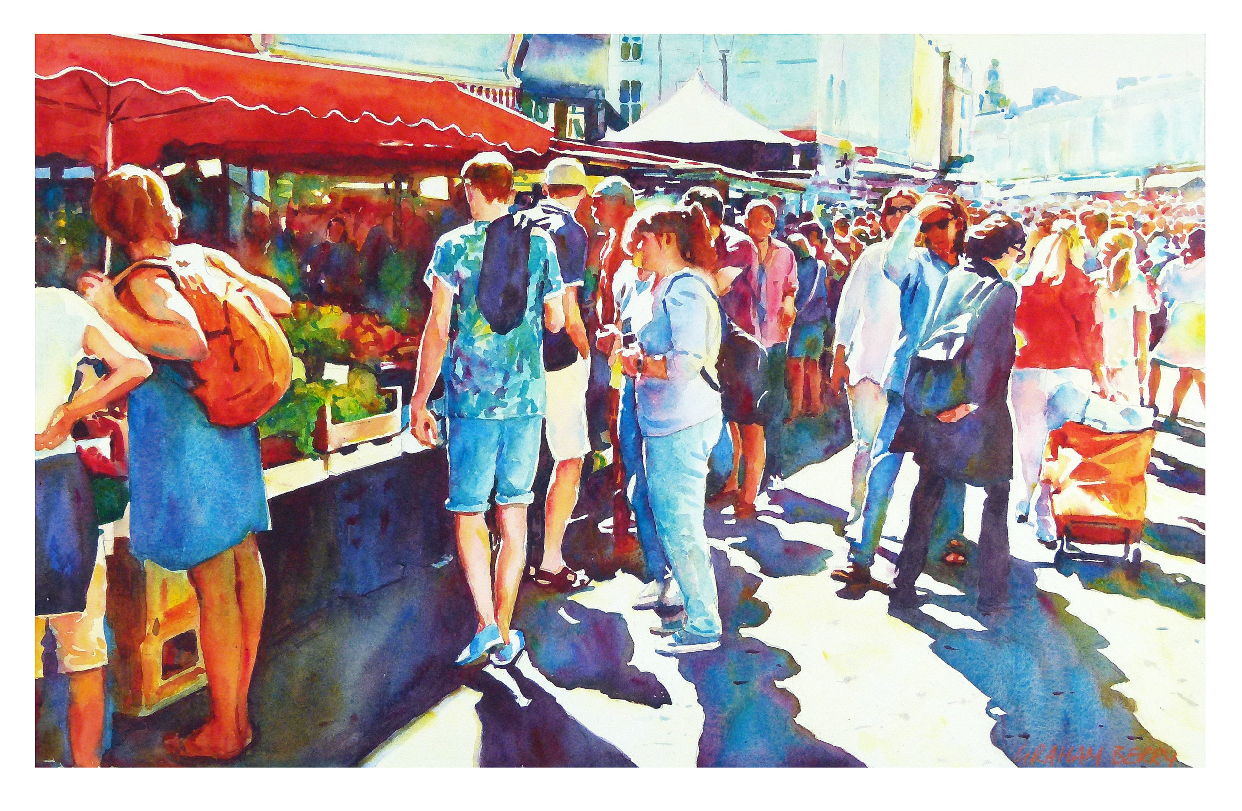 watercolor painting of multiple figures