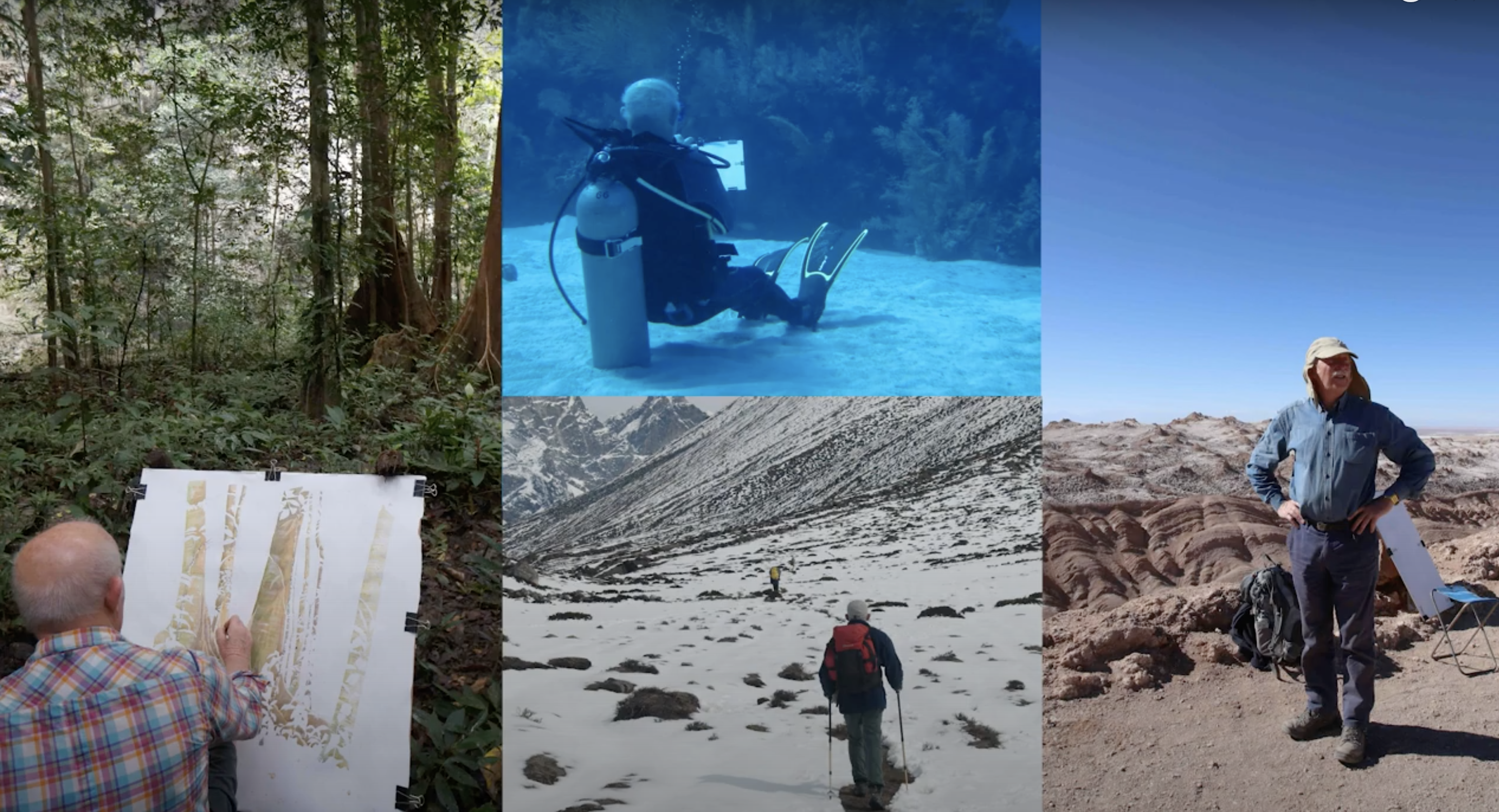 photo montage of artist in extreme locations