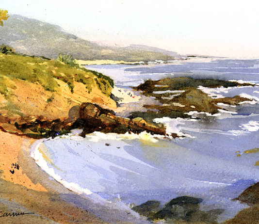 Watercolor painting of beach scene