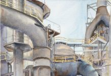 watercolor painting of industrial site