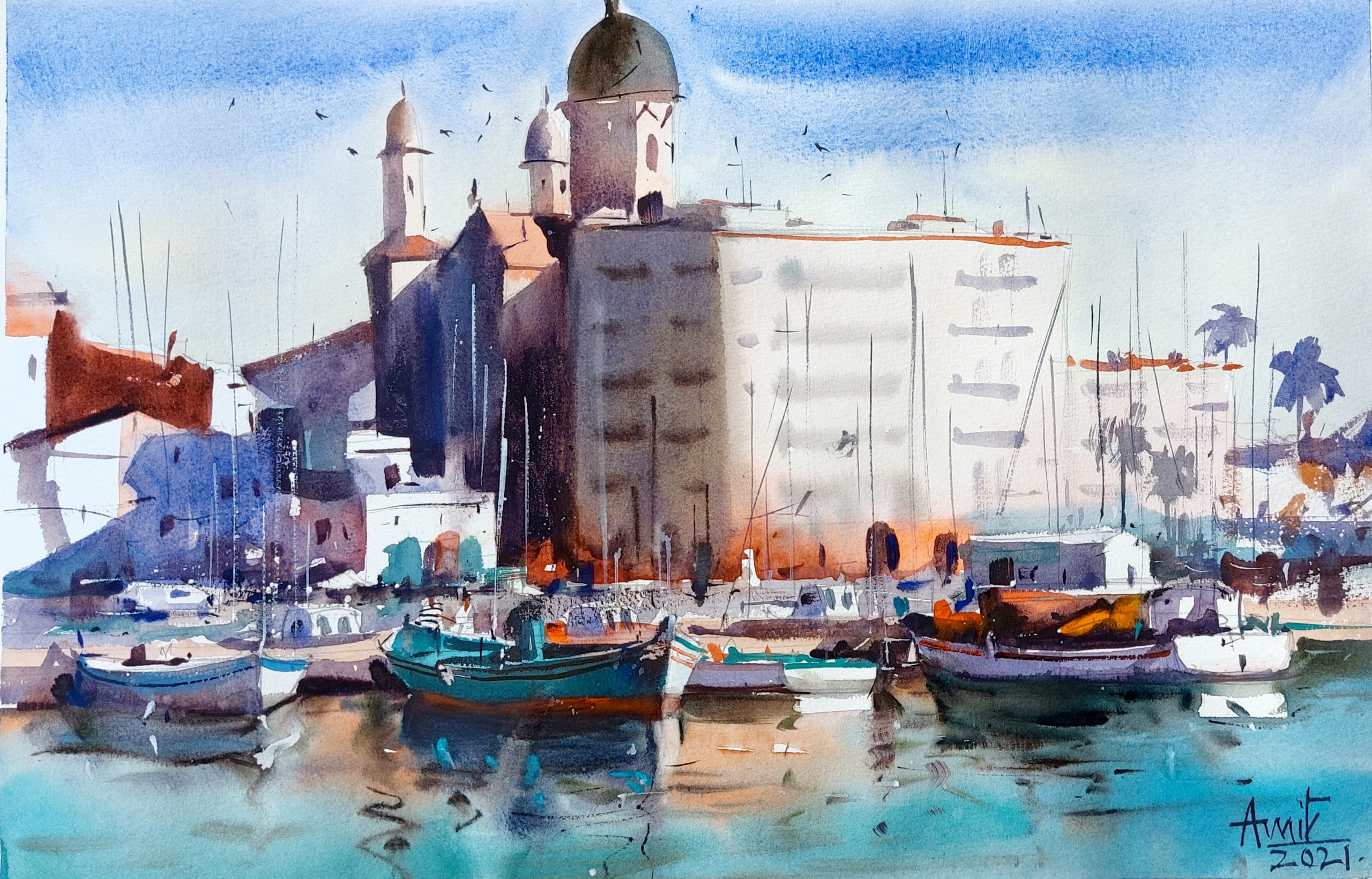 watercolor painting of India