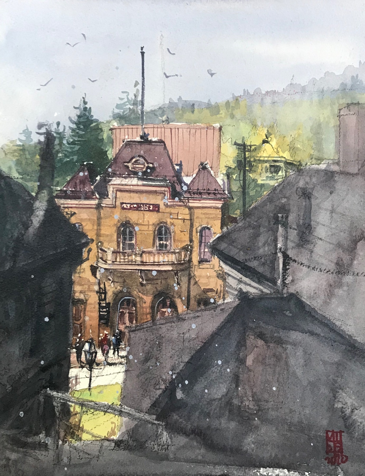 watercolor painting of building