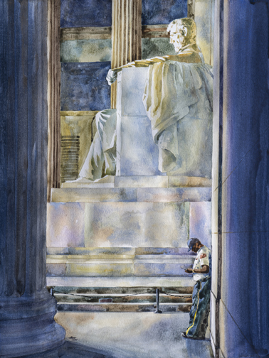 watercolor painting of figure and statue