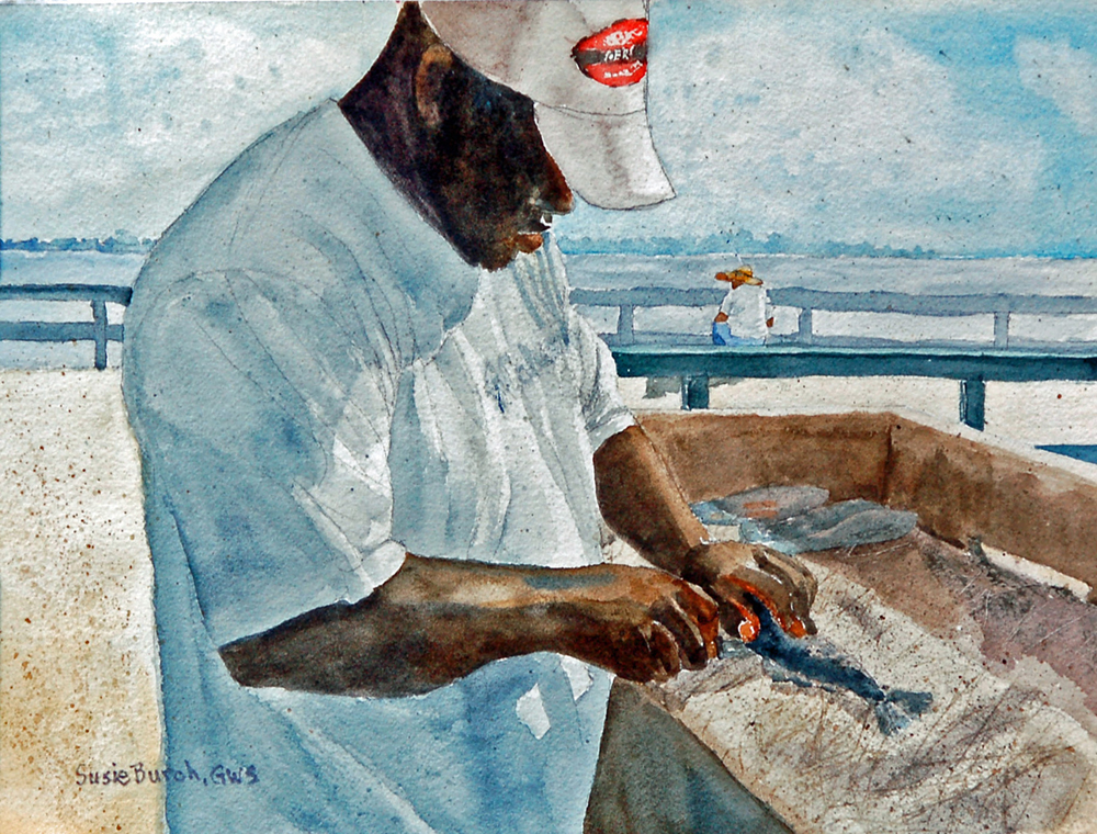 Watercolor painting of a man cleaning a fish near the water