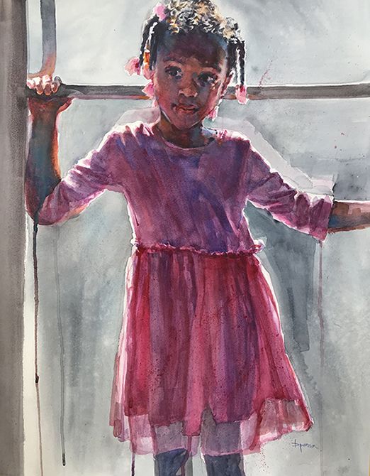 Watercolor painting of a little girl making an entrance walking in a door