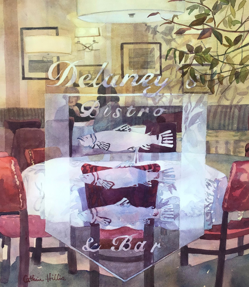 Watercolor painting of a restaurant table from outside the window